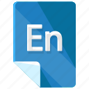 en, extension, file, format icon