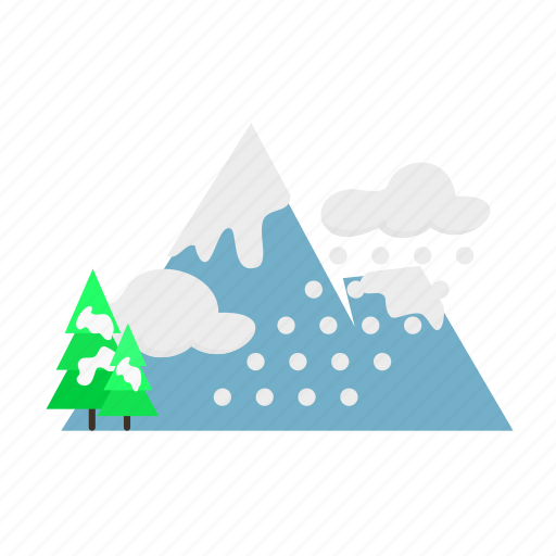 forestry, forrest, mountain, pine, snow, trees, winter icon