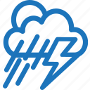 cloudy, cold, lightning, rain, storm, sunset, weather icon