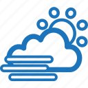 cloudy, mist, misty, sunny, weather icon
