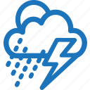 cloudy, drizzling rain, lightning, rainy, storm, weather icon