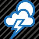 cloudy, dark, lightning, storm, sunny, weather icon
