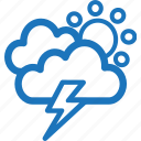 cloudy, lightning, sunny, weather icon