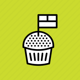 american, cake, flag, independence day, july 4th, muffin, pastry icon