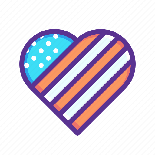 america, american, heart, independence day, july 4th, love, patriotism icon