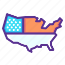 america, american, flag, independence day, july 4th, map, united states icon