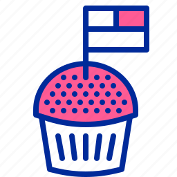 american, cake, flag, independence day, july 4, muffin, pastry icon