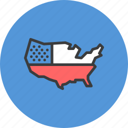america, american, independence, independence day, july 4, map, us icon