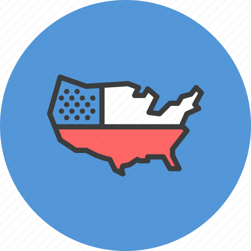 America American Independence Independence Day July 4 Map Us Icon