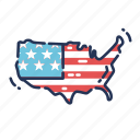 america, fourth of july, independence day, july fourth, map, united states, us icon