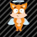 fox, emoji, emoticon, angel, smiley, sticker icon