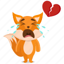 broken, emoji, emoticon, fox, heart, smiley, sticker icon