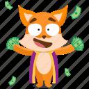 cash, emoji, emoticon, fox, rich, smiley, sticker