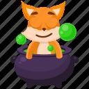 cauldron, emoji, emoticon, fox, potion, smiley, sticker icon