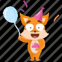 birthday, celebration, emoji, emoticon, fox, smiley, sticker