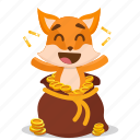coin, emoji, emoticon, fox, smiley, sticker, treasure
