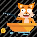 emoji, emoticon, fishing, fox, smiley, sticker