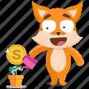 emoji, emoticon, fox, growth, money, smiley, sticker