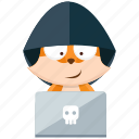 emoji, emoticon, fox, hacker, smiley, sticker
