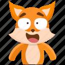 emoji, emoticon, fox, happy, smiley, sticker