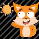 emoji, emoticon, fox, idea, smiley, sticker