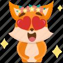 emoji, emoticon, fox, in, love, smiley, sticker