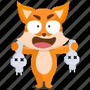 fox, emoji, killer, emoticon, smiley, sticker icon
