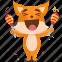 celebration, emoji, emoticon, fox, maracas, smiley, sticker
