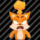 angry, emoji, emoticon, fox, mindblown, smiley, sticker
