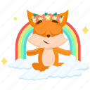 emoji, emoticon, fox, rainbow, smiley, sticker, zen icon