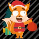 emoji, emoticon, fox, santa, smiley, sticker