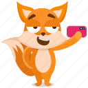 emoji, emoticon, fox, selfie, smiley, sticker