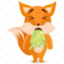 emoji, emoticon, fox, sick, smiley, sticker