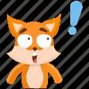 emoji, emoticon, exclaimation, fox, smiley, sticker, surprise icon