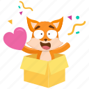 emoji, emoticon, fox, love, smiley, sticker, surprise