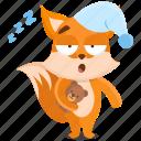 emoji, emoticon, fox, sleep, smiley, sticker, tired