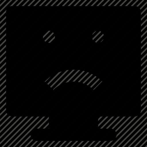 computer, emoji, emoticon, frowning, smiley icon