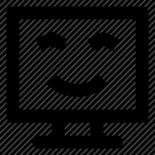 Computer, emoji, emoticon, slightly, smiley, smilling icon - Download on Iconfinder