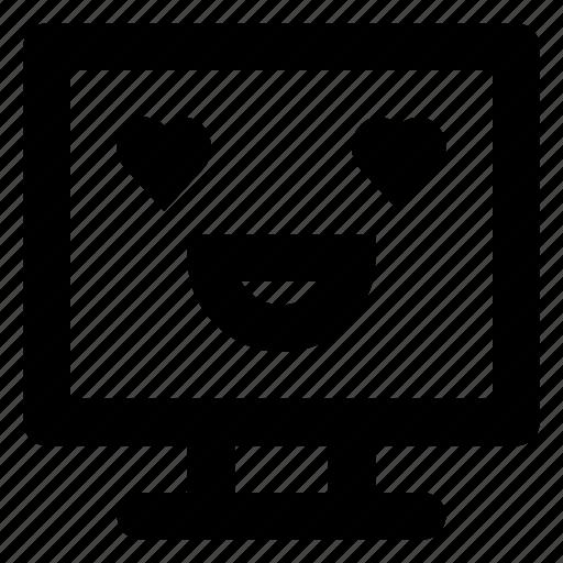 computer, emoji, emoticon, love, smiley, smilling icon