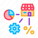 mechanical, infographic, franchise, gear, percent, mark, trade icon