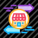 mark, branches, wideworld, building, arrows, shop, trade icon