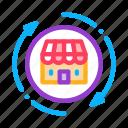 mark, round, wideworld, building, arrows, shop, trade icon