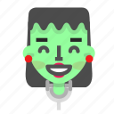 emoji, female, frankenstein, glad, halloween, horror, monster icon