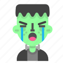 crying, emoji, frankenstein, halloween, horror, monster, scientific icon