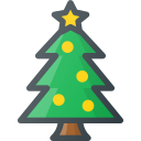 christmas, ornament, pine, star, tree icon