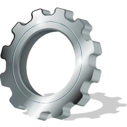 cogwheel, gear, gearwheel, pinion, rackwheel, screw-wheel, shadow, with icon