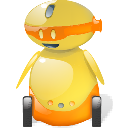 happy, robot, shadow, with icon