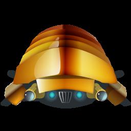 clad, iron, robot icon