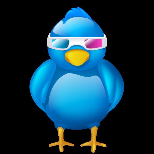 3d, bird, cinema, logo, movie, social, social media, tweet ...