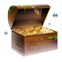 chest, coins, gold, jewel, treasure icon